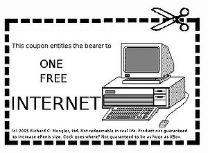 "A ""one free internet"" coupon. To be ..."