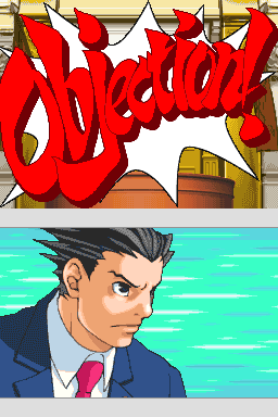 Phoenix Wright issues an objection at the witn...
