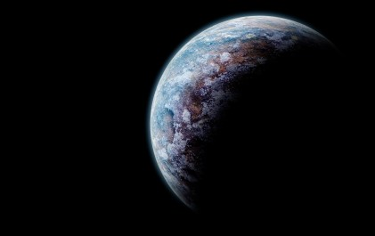 A planet, dark on side, copy space
